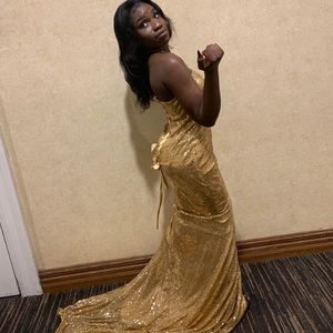 Gold lace up prom dress
